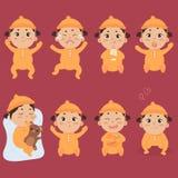 Leuk weinig baby in footies met verschillende emoties vector illustratie