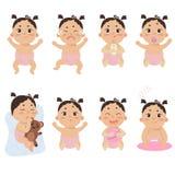 Leuk weinig baby in luier met verschillende emoties royalty-vrije illustratie