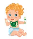 Leuk Weinig Baby met een Lepel De baby eet havermoutpap Stock Foto