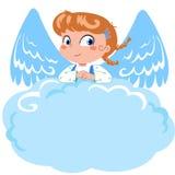 Leuk weinig engelenmemorandum stock illustratie