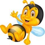 Leuk weinig golvende hand van het bijenbeeldverhaal Stock Afbeeldingen