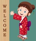 Leuk weinig Japans meisje royalty-vrije illustratie