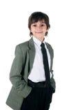 Leuk weinig jongen in bussinessstijl royalty-vrije stock fotografie