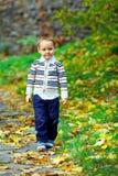 Leuk weinig jongen die in de herfstpark loopt Stock Foto