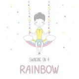 Leuk weinig jongen die op een regenboog slingeren stock illustratie