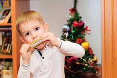 Leuk weinig jongen die op harmonika spelen stock foto