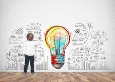 Leuk weinig jongen het schrijven idee van de tekeningsteller Royalty-vrije Stock Afbeelding