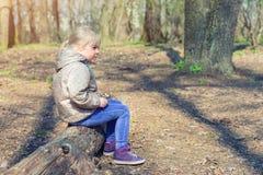 Leuk weinig Kaukasisch blond meisje sittng op houten login bos en ergens het kijken Aanbiddelijk peinzend kind die ongeveer drome stock afbeeldingen