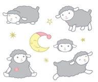 Leuk Weinig Kawaii-Vastgestelde VectordieIllustratie van Stijlgray baby sheep design elements op Wit wordt geïsoleerd Stock Foto's