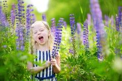 Leuk weinig kleutermeisje die pret op mooi bloeiend lupinegebied hebben royalty-vrije stock foto's