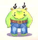 Leuk weinig monster in de jeans Bootcut Stock Afbeeldingen