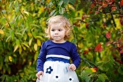 Leuk weinig peutermeisje die een gang maken door de herfstpark Het gelukkige gezonde baby genieten die met ouders lopen Zonnige w royalty-vrije stock afbeelding