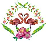 Leuk Weinig Prinses Abstract Background met Roze Flamingoillustratie Stock Foto's