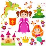 Leuk weinig prinses, meermin, fairytale kikker, kasteel, draak, kroon, schild, bloemen en vlinders royalty-vrije illustratie