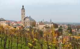 Leuk weinig Tsjechische cityscape van stadskutna Hora in de de herfsttijd w royalty-vrije stock afbeelding