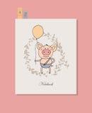 Leuk weinig varken die zich met de ballon in een hand bevinden Royalty-vrije Stock Afbeeldingen
