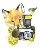 Leuk weinig vos Waterverfvos royalty-vrije illustratie