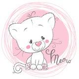 Leuk Wit Katje op een roze achtergrond Royalty-vrije Stock Fotografie