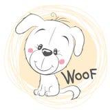 Leuk Wit Puppy op een gele achtergrond Royalty-vrije Stock Foto