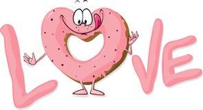 Leuk zoet die doughnuthart in liefde wordt gevormd - vector i vector illustratie