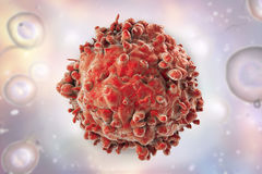 Leukaemia white blood cell. On background with cells, 3D illustration Stock Photos