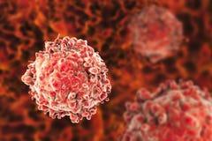 Leukaemia white blood cells. 3D illustration. Cancer cells Stock Illustration