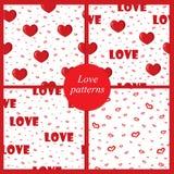 Leuke achtergronden met liefde en harten voor de Dag van Valentine, naadloze patronen Stock Foto's