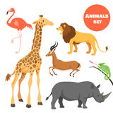 Leuke Afrikaanse die dieren voor jonge geitjes in beeldverhaalstijl worden geplaatst Stock Afbeelding