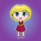 Leuke Anime weinig beeldverhaalmeisje met blond haar Stock Afbeelding