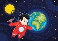 Leuke astronaut die in ruimte vectorillustratie vliegt Stock Afbeelding