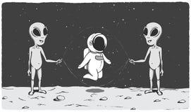 Leuke astronautenspelen met vreemdelingen royalty-vrije illustratie