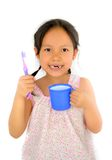 Leuke Aziatische meisje en tandenborstel Stock Foto