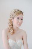 Leuke Aziatische Vrouwenmake-up en glimlach Stock Afbeelding