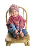 Leuke baby in met de hand gemaakte kleding Royalty-vrije Stock Foto
