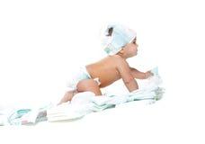 Leuke baby met luiers Stock Fotografie