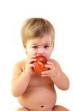 Leuke baby met rode appel Royalty-vrije Stock Fotografie