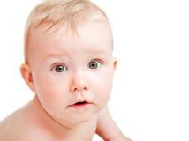 Leuke baby met verraste gezichtsuitdrukking Royalty-vrije Stock Foto's