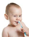Leuke baby schoonmakende tanden en glimlach Royalty-vrije Stock Foto's