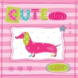 Leuke babyachtergrond met grappige hond Royalty-vrije Stock Afbeelding
