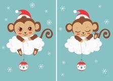 Leuke Babyapen met Nieuwjaarbal Ð ¡ hristmaskarakters Beeldverhaal Vectorkaart Funky Aap Royalty-vrije Stock Afbeeldingen