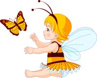 Leuke babyfee en vlinder Royalty-vrije Stock Foto