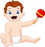 Leuke Babyjongen met muzikaal stuk speelgoed vector illustratie
