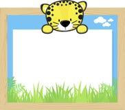 Leuke babyluipaard en lege raad Royalty-vrije Stock Afbeelding