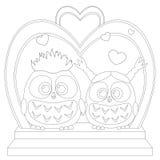 Leuke babyuil in affiche van het liefde de zwart-witte huwelijk, hart, boog, trede Royalty-vrije Stock Foto