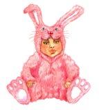 Leuke babyzitting in roze konijn & x28; hare& x29; kostuum Royalty-vrije Stock Afbeelding