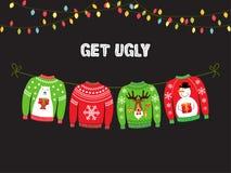 Leuke banner voor de Lelijke Partij van Sweaterkerstmis royalty-vrije illustratie