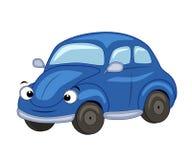 Leuke beeldverhaal blauwe auto Vectorillustratie op witte bac Stock Foto