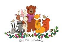 Leuke beeldverhaal bosdieren Vrolijk draag, vos, leuke hazen, eekhoorn en wasbeer in de weide vector illustratie