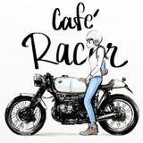 Leuke beeldverhaal girlriding motorfiets Stock Afbeelding
