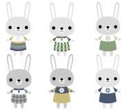Leuke beeldverhaal grijze konijntjes vector illustratie